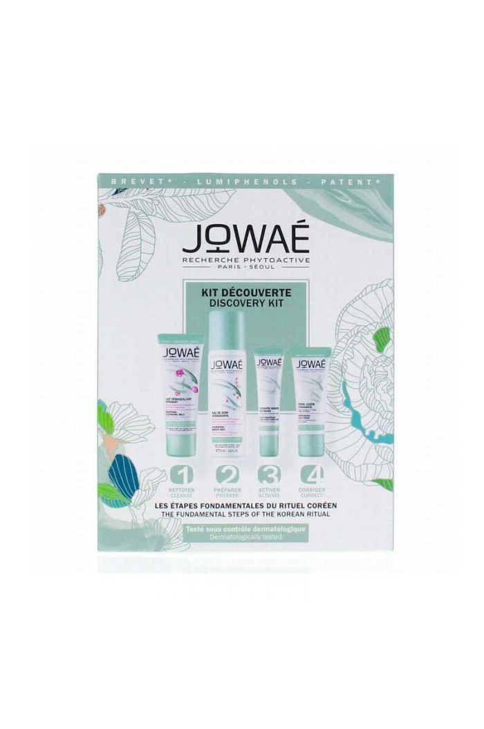 JOWAE Discovery Kit Σετ γνωριμίας με Moisturizing Light Cream 15ml, Soothing Cleansing Milk 30ml, Hydrating Water Mist 50ml & Youth Concentrate Complexion Correcting 10ml