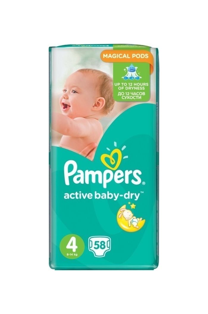 PAMPERS Active Baby Dry Jumbo Pack No.4 (Maxi) 8-14 kg Βρεφικές Πάνες, 58 τεμάχια