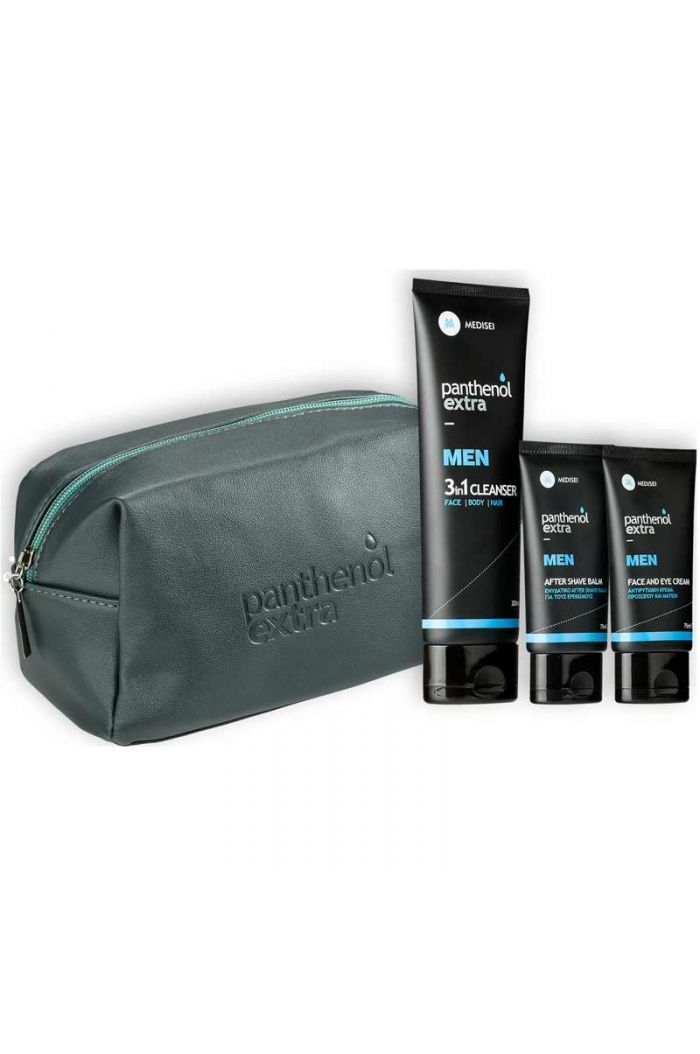 PANTHENOL Extra Men Promo Pack με Face & Eye Cream, 75ml, After Shave Balm, 75ml & ΔΩΡΟ 3 in 1 Cleanser Face Body Hair, 200ml