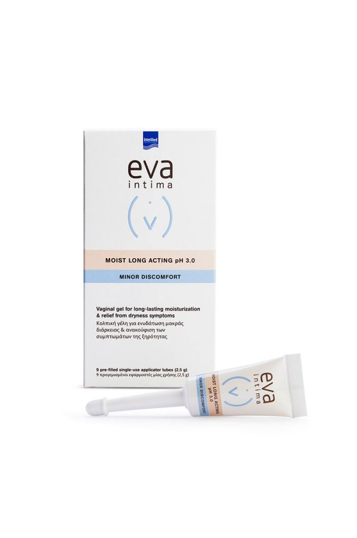INTERMED Eva Intima Minor Discomfort Moist Long Acting pH 3.0 Κολπική Γέλη Kατά Tης Ξηρότητας, 2.5gr x 9τμχ