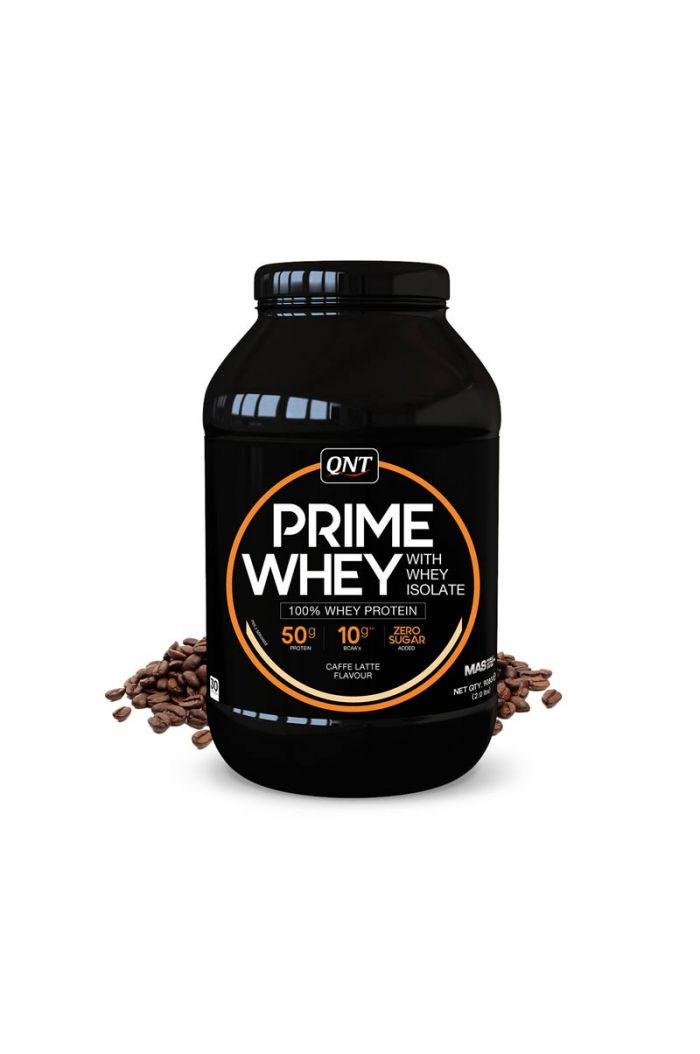 QNT Prime Whey 100% Whey Isolate & Concentrate Blend Coffee Latte, 908gr