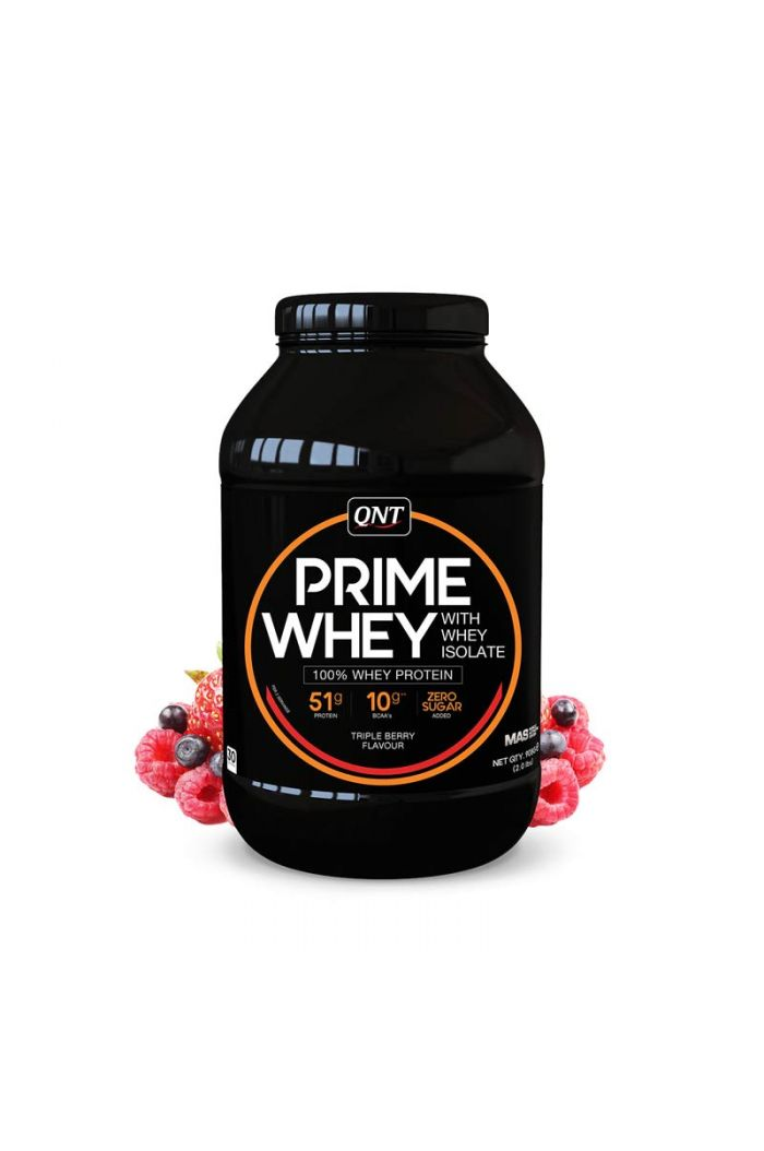 QNT Prime Whey 100% Whey Isolate & Concentrate Blend Triple Berry, 908gr