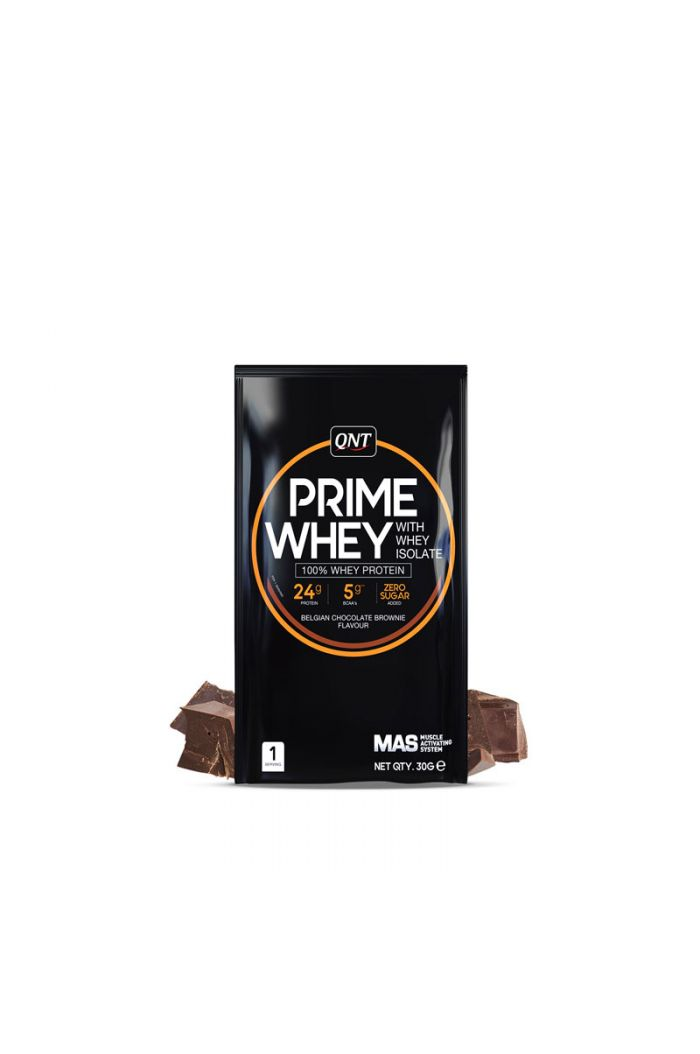 QNT Prime Whey 100% Whey Isolate & Concentrate Blend Belgian Chocolate Brownie, 30gr