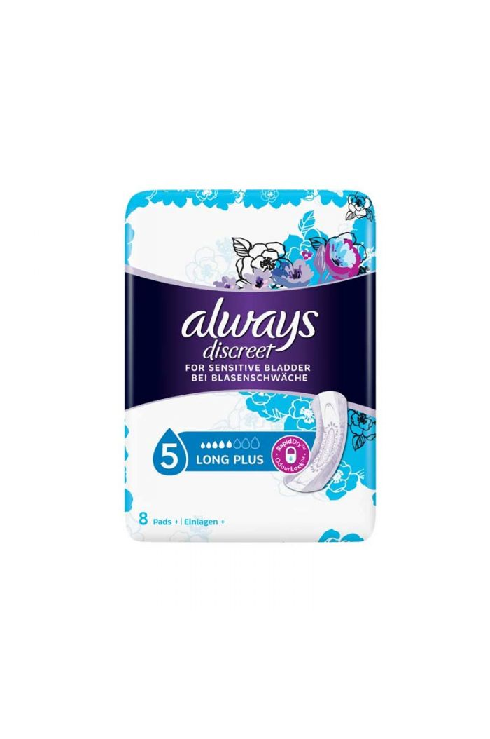 ALWAYS Discreet for Sensitive Bladder No 5 Long Plus Σερβιέτες Για Ακράτεια, 8τμχ