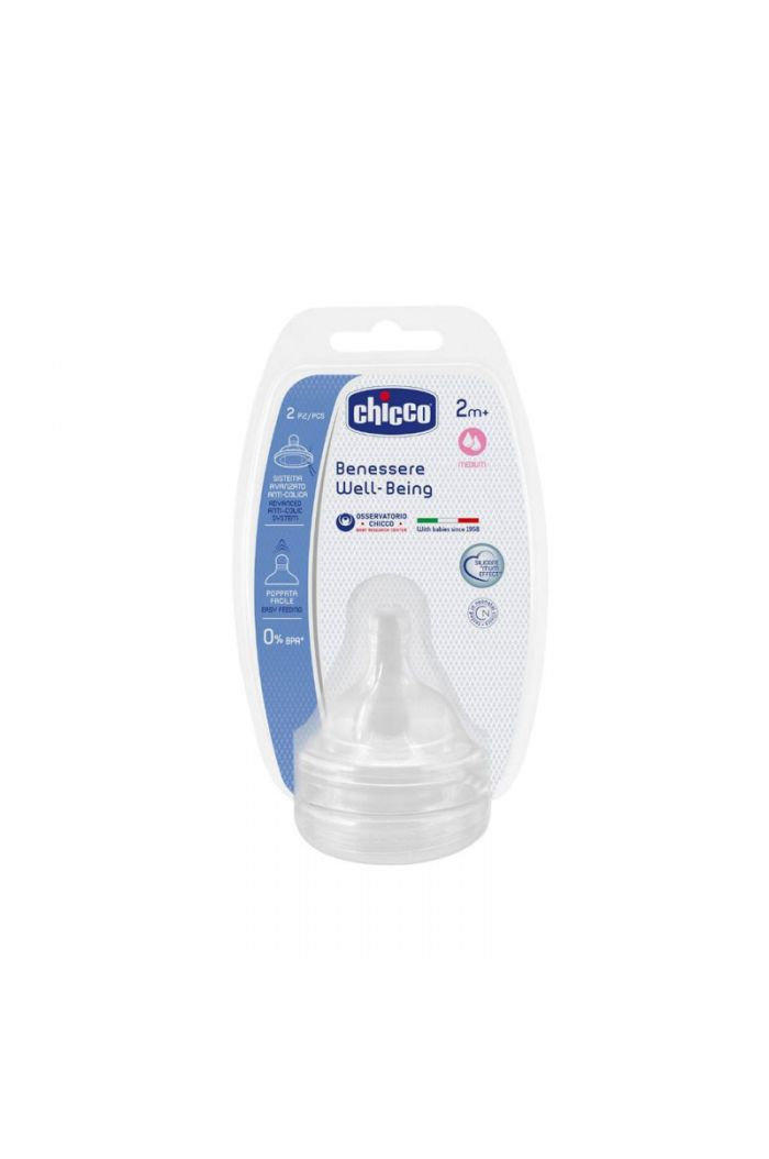 CHICCO Well Being Θηλή Σιλικόνης, Μέτρια Ροή 2m+, 2τμχ (20823-20)