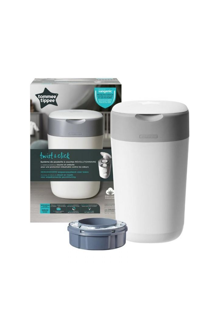 TOMMEE TIPPEE Twist and Click Sangetic Tec White Κάδος Απόρριψης Παιδικής Πάνας & Κασέτα με Σακούλες (Κωδ.85101201)