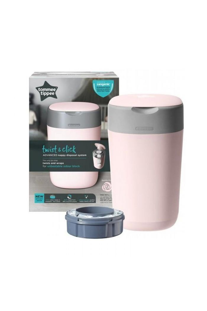 TOMMEE TIPPEE Twist and Click Sangetic Tec Pink Κάδος Απόρριψης Παιδικής Πάνας & Κασέτα με Σακούλες (Κωδ.85101301)