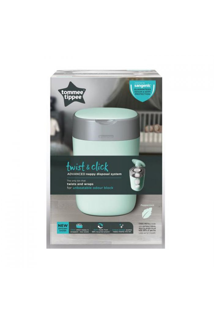TOMMEE TIPPEE Twist and Click Sangetic Tec Green Κάδος Απόρριψης Παιδικής Πάνας & Κασέτα με Σακούλες (Κωδ.85102501)